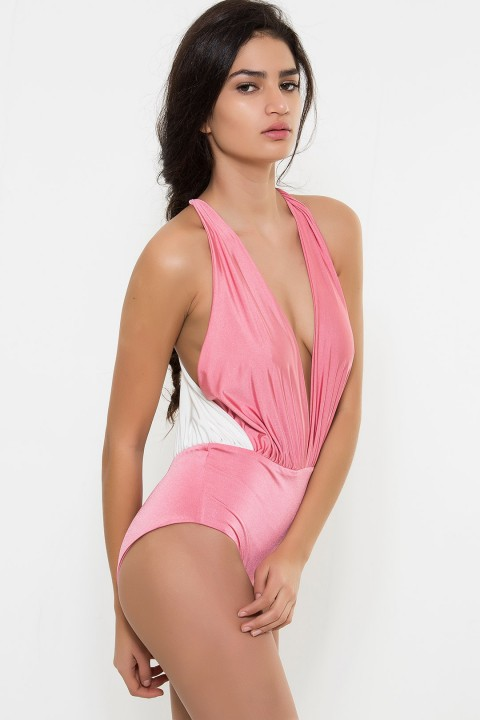 Nur Karaata The 'Dream Swimsuit' Soft Pink & White