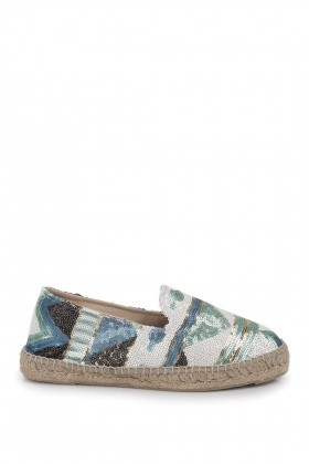 Manebi - Los Angeles Paillettes Aquamarine Espadril