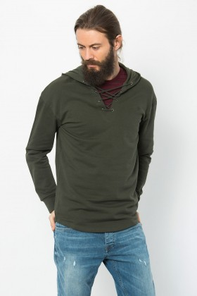 Jack & Jones - Jorrıpple Sweat Ls Hood Haki