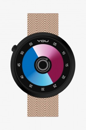 You Watch - You Watch Planet Siyah & Egzotik Roze Hasır Kordonlu Unisex Kol Saati