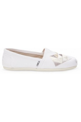 Toms - White Canvas Embroidery Women Classic Alpargata