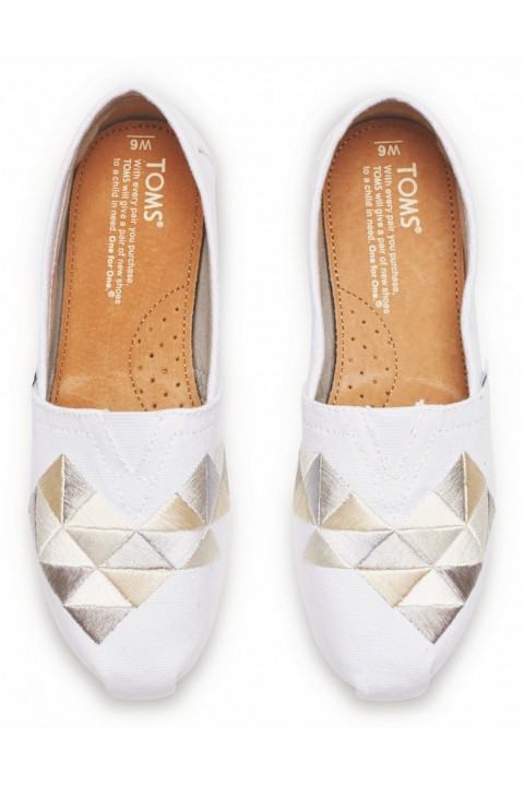 Toms White Canvas Embroidery Women Classic Alpargata