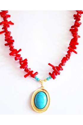 Umbrella Boutique - Coral Stone Necklace