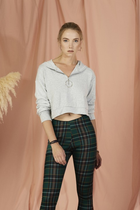 Lidyana Collection Gri Kapüşonlu Cropped Sweatshirt