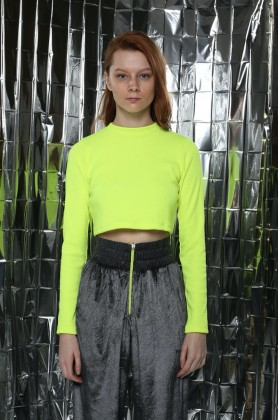 Fineapple - Neon Sarı Crop Bluz