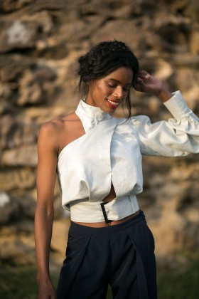 Betty & Sam - One Shoulder Blouse With Belt