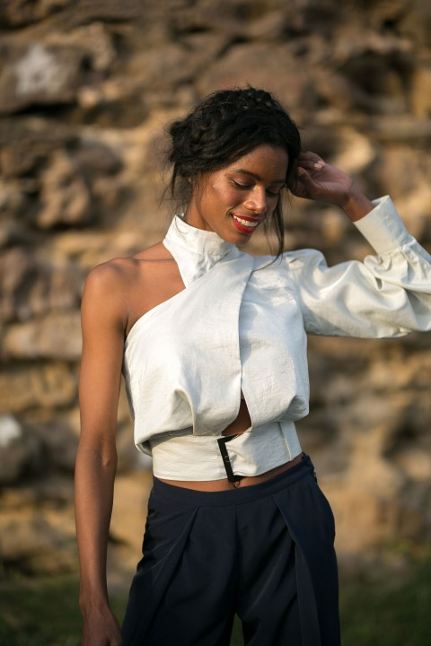 Betty & Sam One Shoulder Blouse With Belt