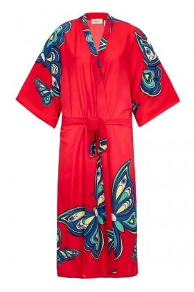 Jade and Mate - Red Butterfly - Uzun Kimono