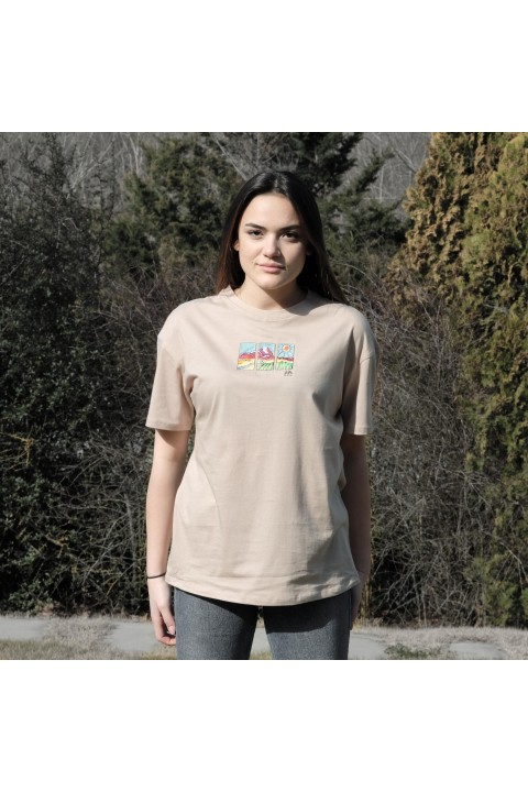 Fifty Pieces Oversize Düşük Omuzlu T-Shirt / Bej