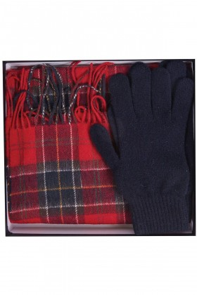 Barbour - Barbour Scarf And Glove Gift Set RE35 Red