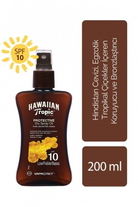 Hawaiian Tropic - Hawaiian Tropic Tropical Dry Spray Oil SPF10 UVProtect Coconut & Papaya 200 ml - Koruyucu ve Bronzla