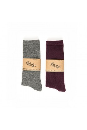 One Two Sock	 - Gri/Bordo Erkek 2'li Paket Yün Çorap