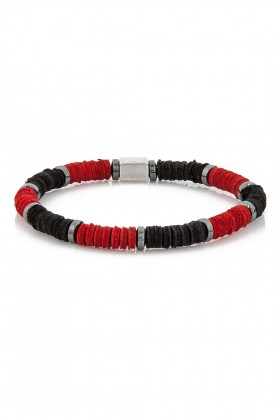 Delfince - Black and Red Leather Pieces Bileklik