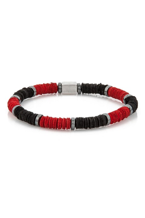 Delfince Black and Red Leather Pieces Bileklik